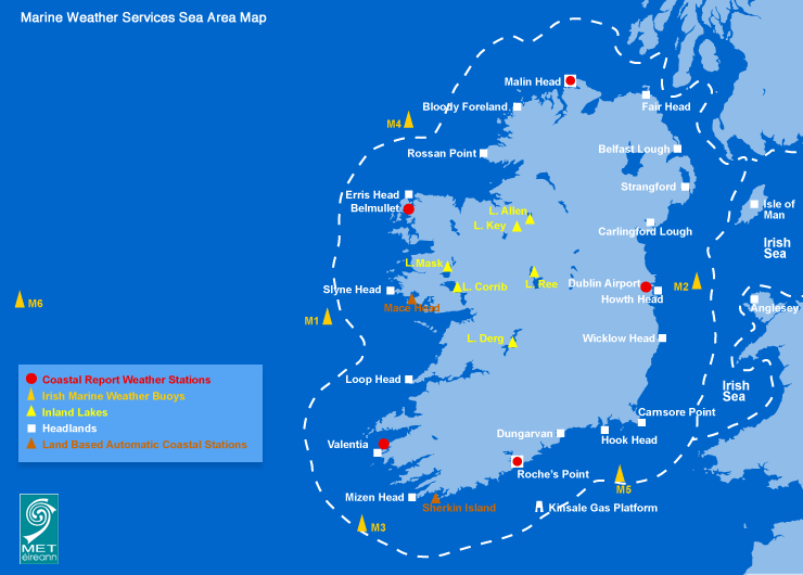 Marine Weather Map.Sea Area Forecast Terminology Met Eireann The Irish