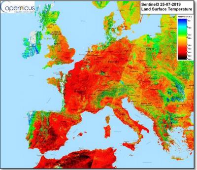 Land Surface Temperature Sentinel 25-07-2019. Courtesy Copernicus
