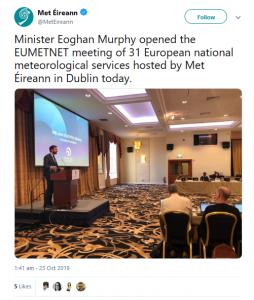 Tweet of Minister Eoghan Murphy launching the EUMETNET meeting in Dublin in October