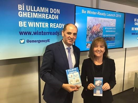 Minister Kehoe and Evelyn Cusack at 2019-2020 Be Winter Ready Launch