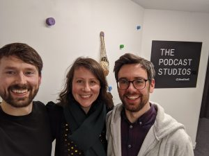 photo of Noel, Liz and Alan Bennett of The Podcast Studios where we record it all