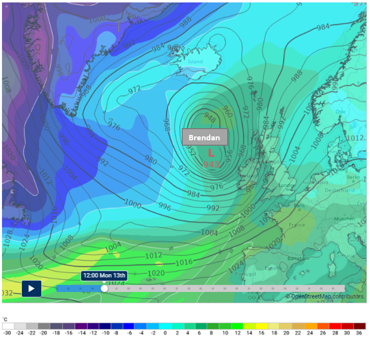 Forecast position of Storm Brendan at 1200 Mon 13th January