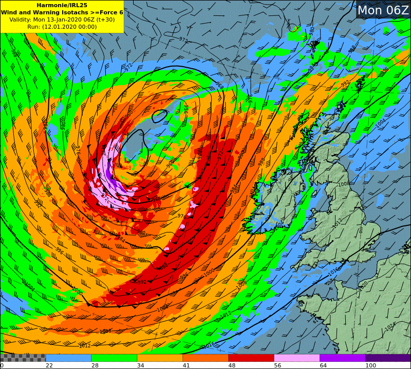 HARMONIE wind and warning isotach chart - Mon