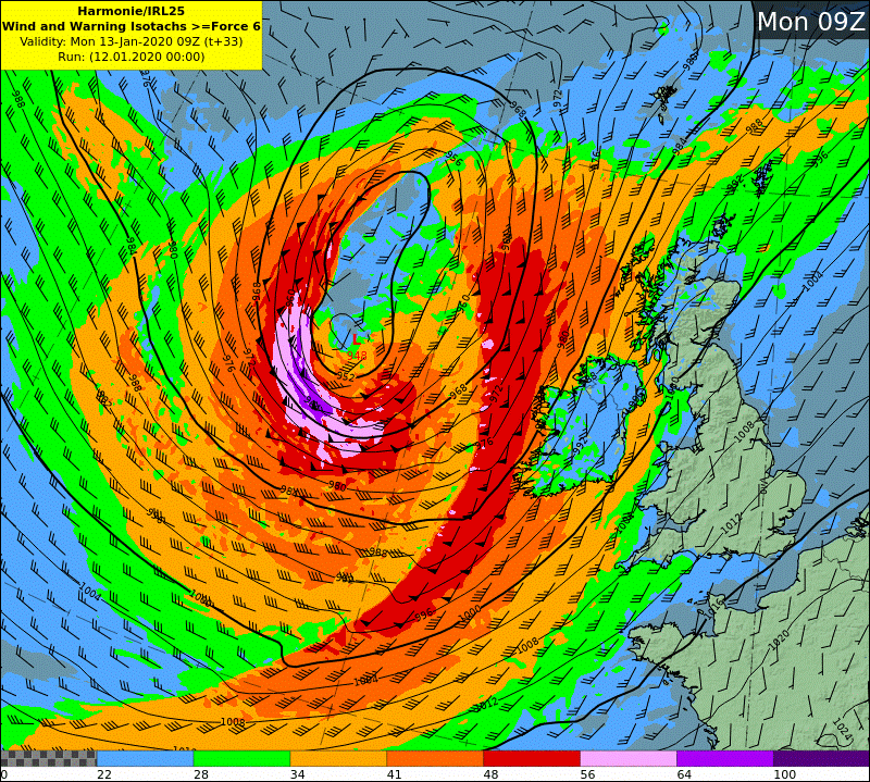 HARMONIE wind and warning isotach chart - Mon09z