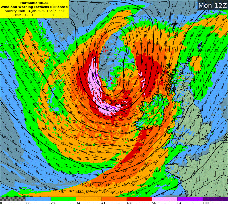 HARMONIE wind and warning isotach chart - Mon12z