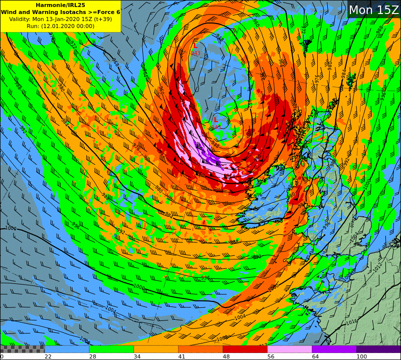 HARMONIE wind and warning isotach chart - Mon15z