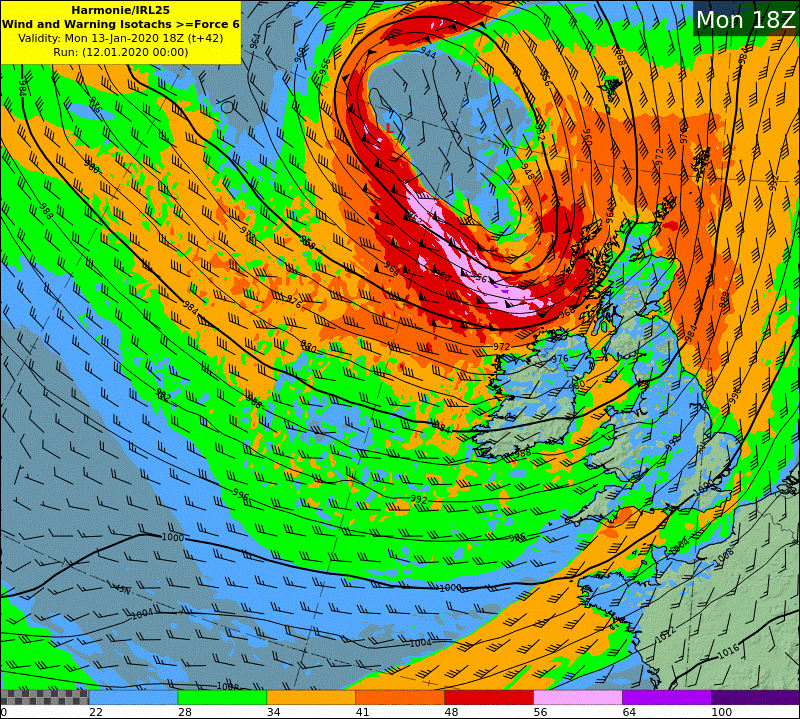 HARMONIE wind and warning isotach chart - Mon18z