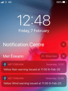 example of received Met Éireann push notifications on a phone homescreen