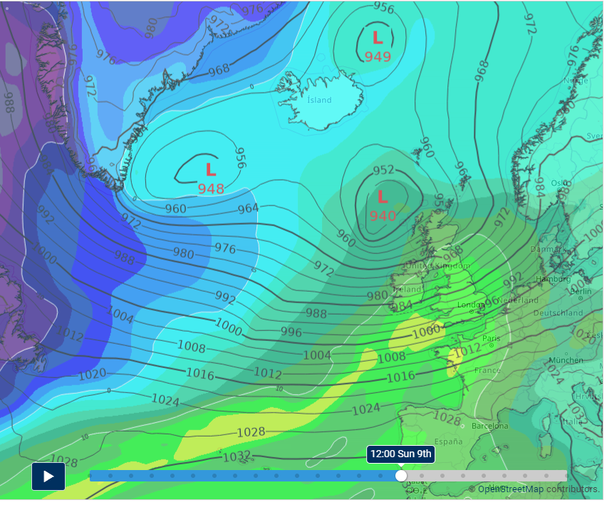 position of Storm Ciara on Sunday