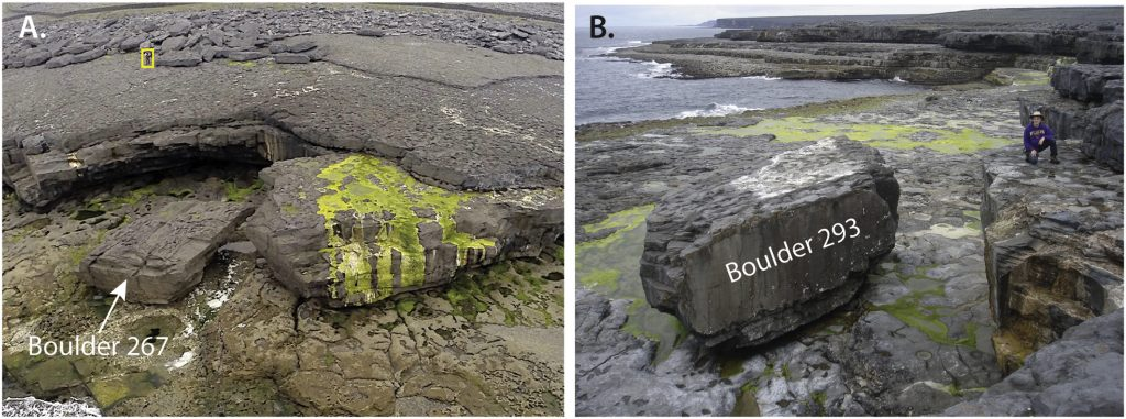 An example of the large boulders, some weighing over 600 tonnes, that were moved by large storm waves on the west coast of Ireland during the winter of 2013/2014 (Cox et al., 2018; see link to research paper below).