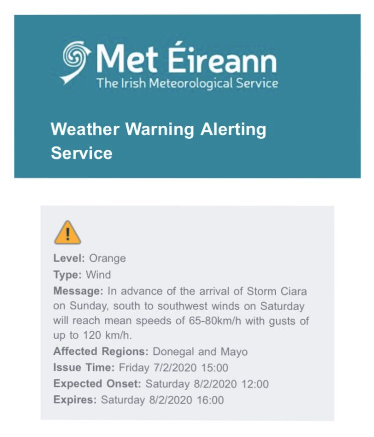 Image of weather warning email