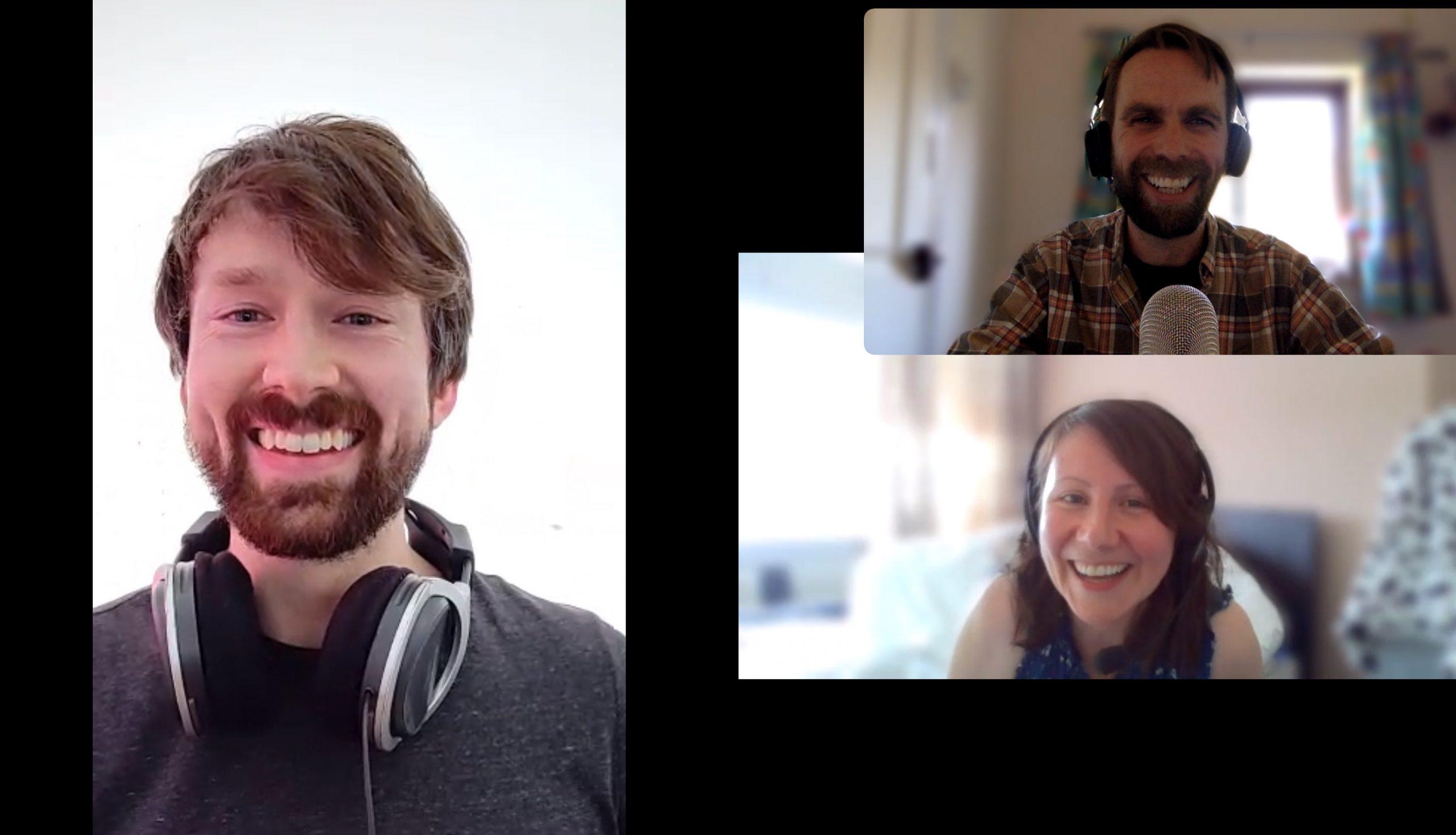Podcast selfie - lockdown style! L-R Noel Fitzpatrick, John Law, Liz Walsh