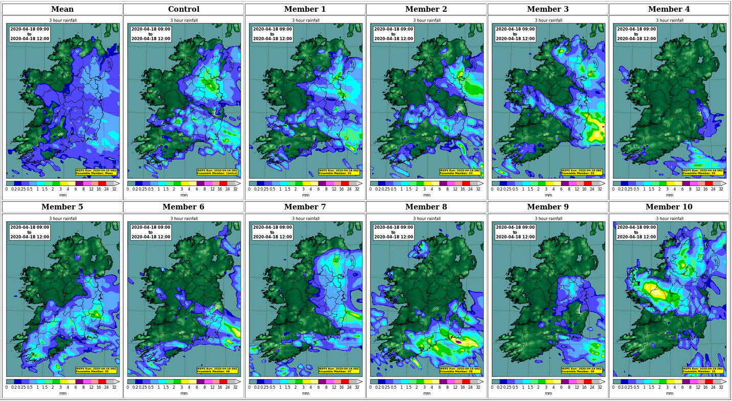 Postage stamps from the 06 Z IREPS on 16th April 2020 showing rainfall predicted up to 54 hours later - between 09 Z (10:00 local) and 12 Z (13:00 local) on the 18th April 2020. All eleven members (1 control + 10 perturbed) are plotted, as well as their mean.