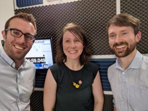 Podcast selfie: L-R Alan Hally, Liz Walsh, Noel Fitzpatrick