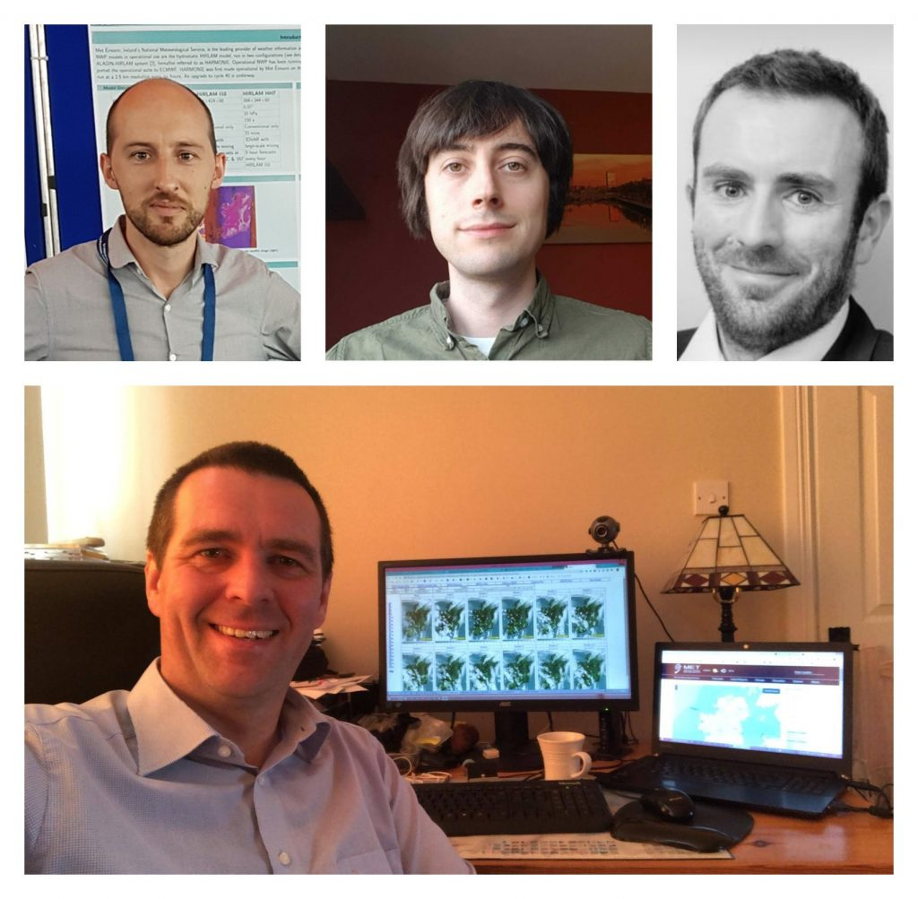 Met Éireann's operational NWP team from top left; Colm Clancy, Rónán Darcy, Alan Hally and below, NWP team leader, Eoin Whelan