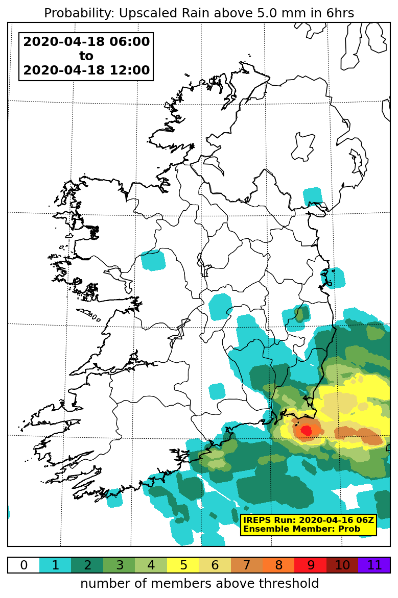 A pseudo-probability plot for rainfall totals exceeding 5 mm in a 6 hour window. The raw data has been upscaled to 5x5 grid points to avoid the double-penalty issue seen with high-resolution ensemble prediction systems.