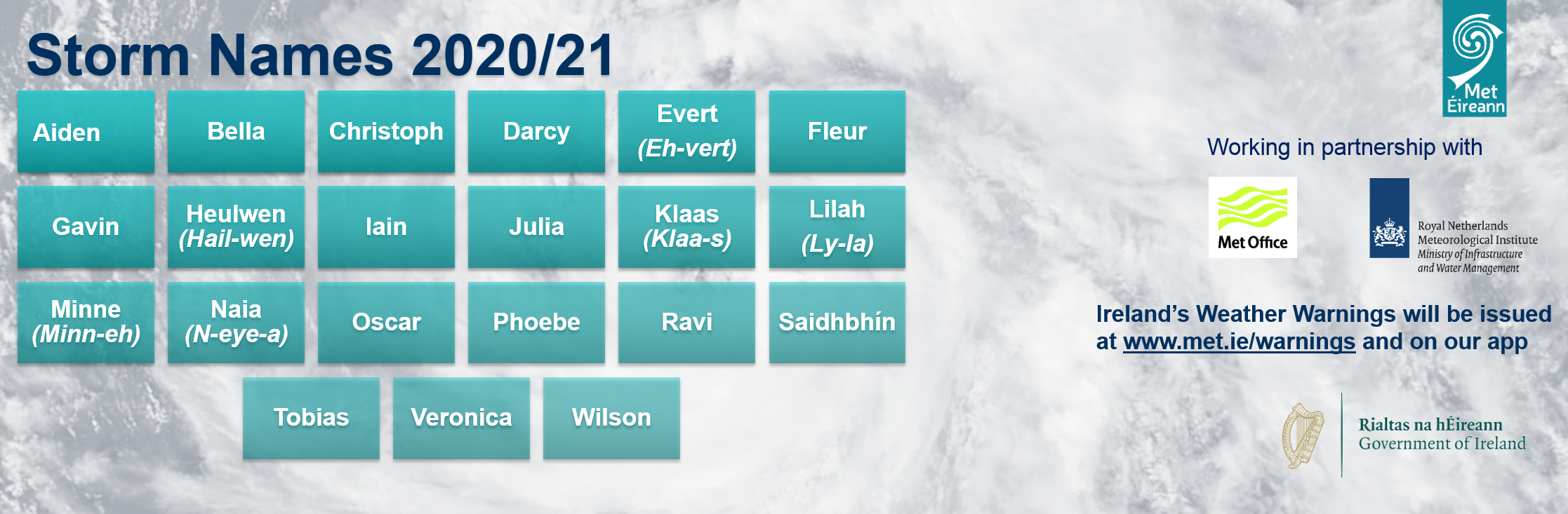 Social media graphic for Storm Names 2020/21 list- follow us on Twitter, Facebook and Instagram