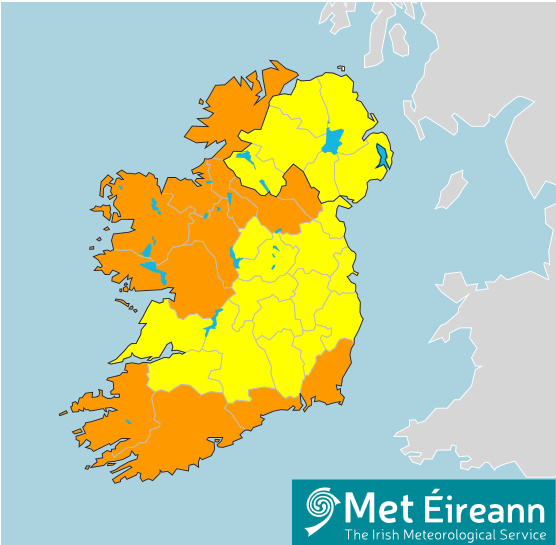 Figure 1. Rain and Wind warnings associated with Storm Francis (as at 7pm 24rd August 2020)