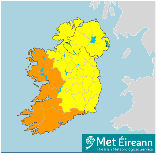 Fiure 1: Warnings for Ireland issued Tuesday 18/08/2020 for Wednesday/Thursday