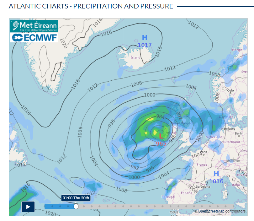 Figure 3: Storm Ellen is forecast to track in over Ireland from the Atlantic