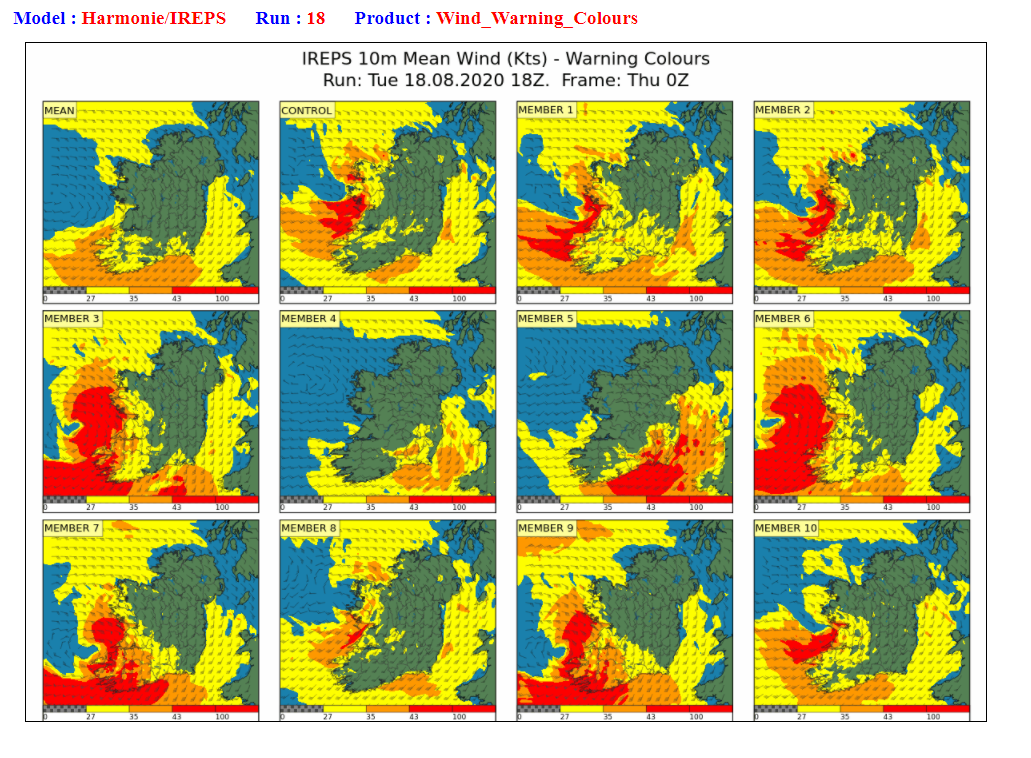 Figure 4: Met Éireann's high-resolution Ensemble Prediction System (IREPS) showing the range of possibilities of the severe winds.