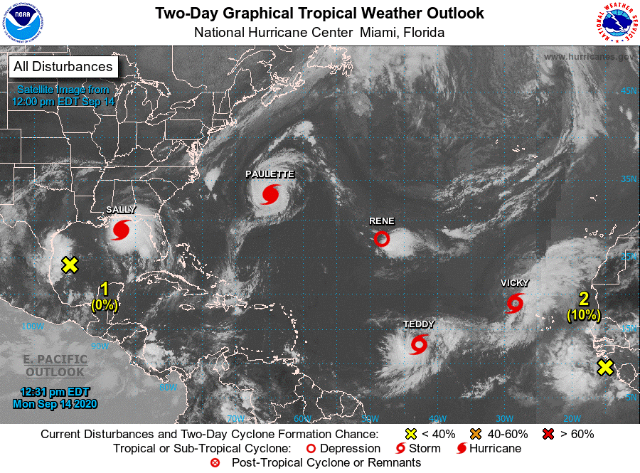 Image above from National Hurricane Center on September 14th 2020.