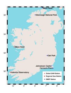 Figure 2 Location of atmospheric composition monitoring sites in Ireland