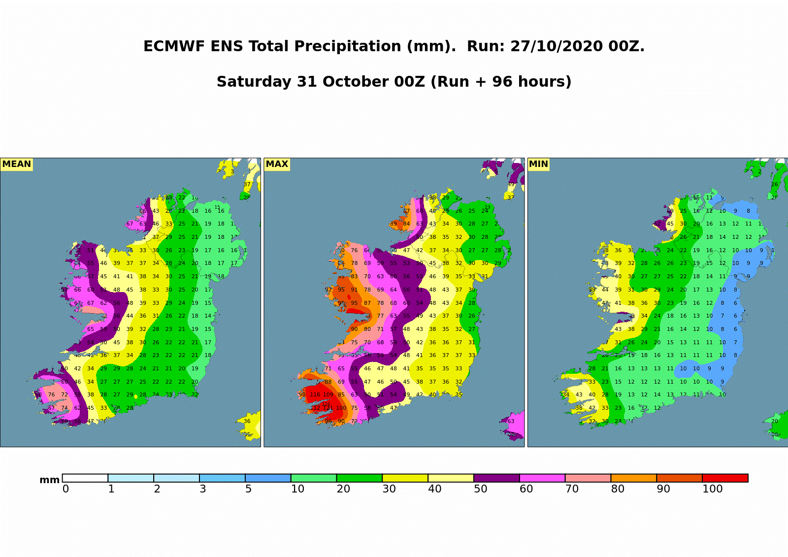 (Fig 3: Accumulated Rainfall forecast from the ECMWF Ensemble System illustrating the mean, maximum and minimum forecast total rainfall from Tuesday 00UTC 27th October to Saturday 00UTC 31st October)