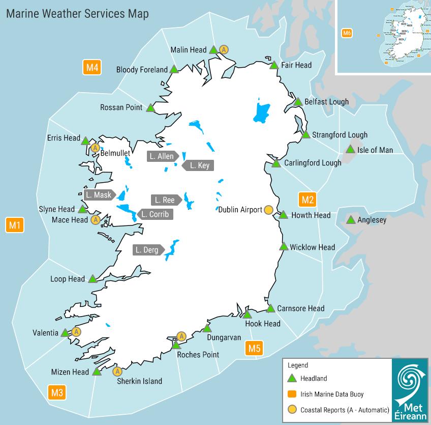Marine Weather Services Map of Ireland