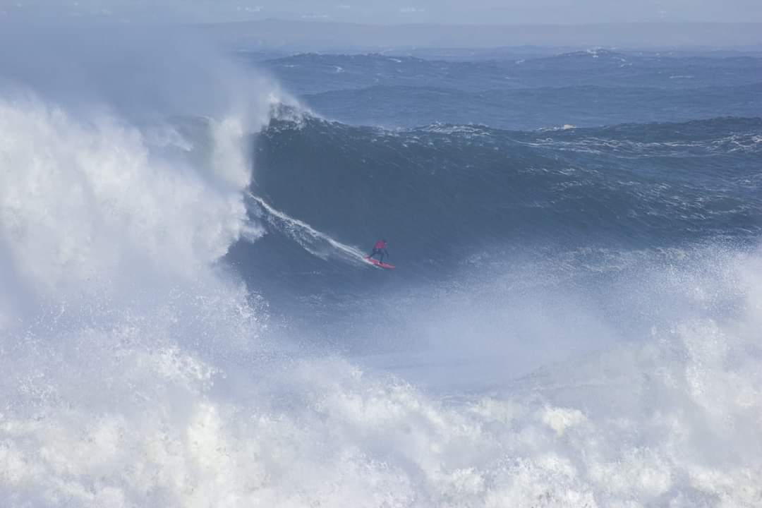 Surfer on the large waves at Mullaghmore, Co. Sligo on Wednesday 28th October. Photo by Noel Fitzpatrick, Research Meteorologist, Met Éireann, currently Sligo-based.