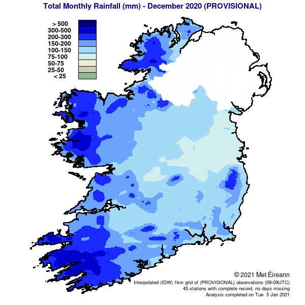 Total Monthly Rainfall (mm) - December 2020 Provisional