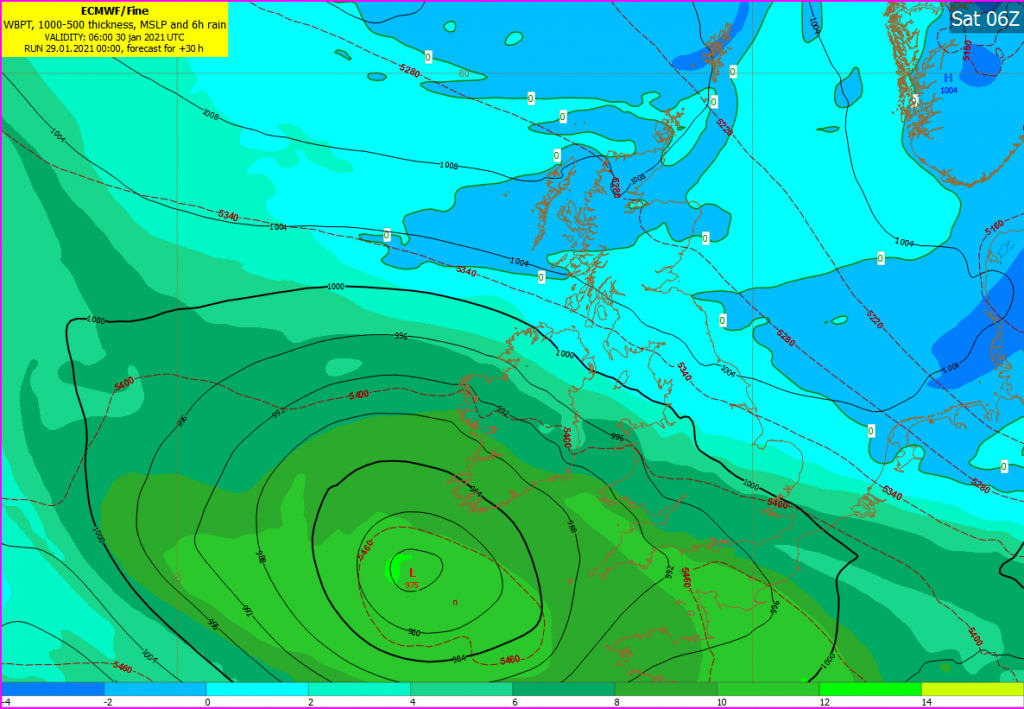 ECMWF: WBPT, 1000-500 thickness, MSLP and 6h rain chart for Sat 06Z