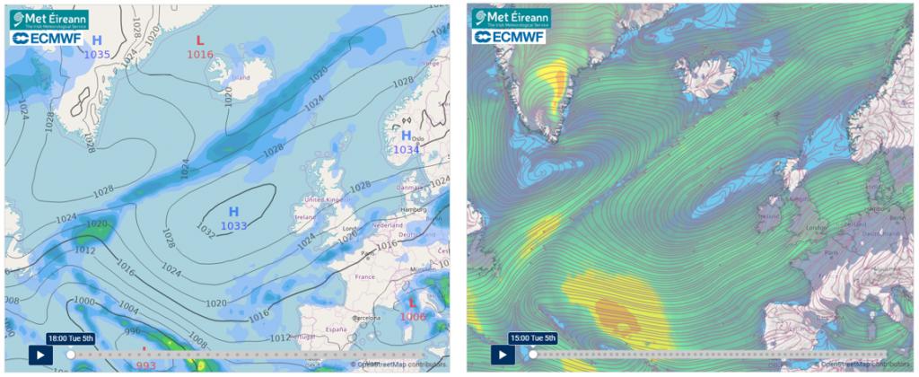 10-day forecast charts: Precipitation and Pressure, Airflow