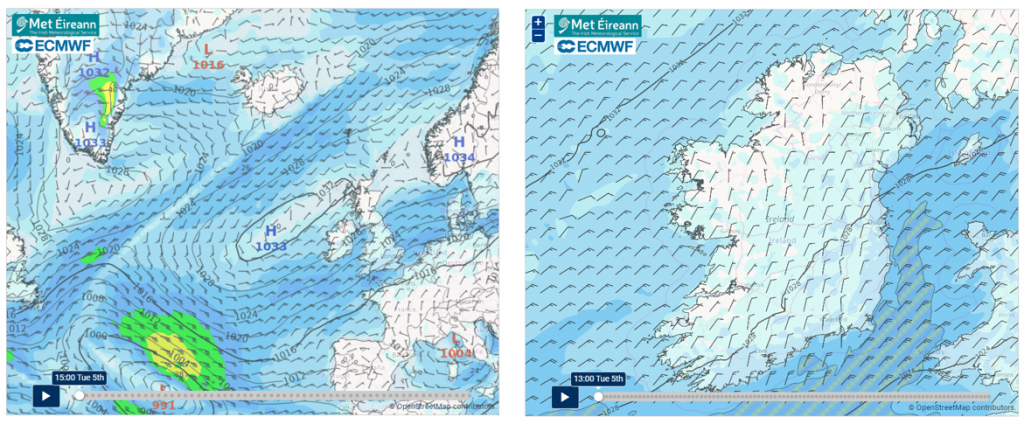 10-day Forecast Charts: Wind Barb Atlantic and Ireland (3 zoom levels)