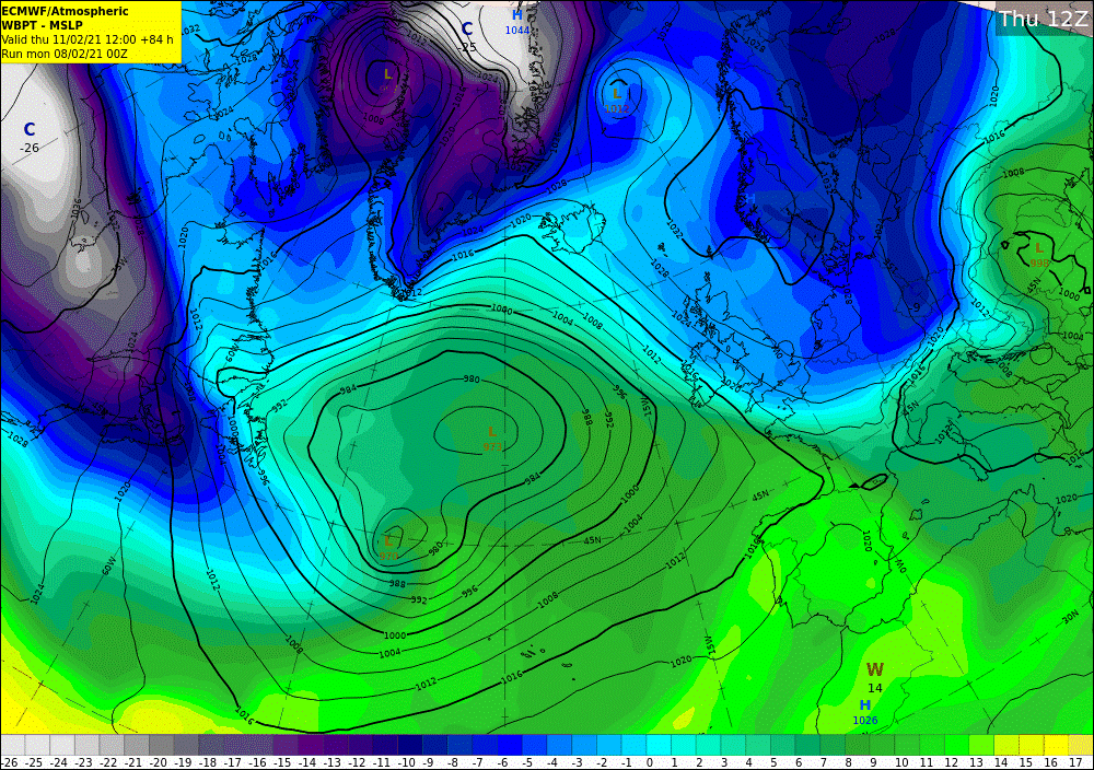 Fig 4: Forecast chart for Thursday 1200UTC 11 February 2021 shows low pressure in the Atlantic and high pressure positioned over Scandinavia. Over Ireland, there is a boundary between very cold air to the east and northeast and milder air from the Atlantic with a spell of snow expected
