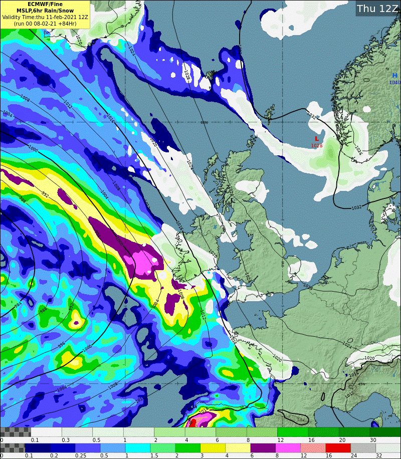 Fig 5: Forecast rain, sleet and snow on Thursday 0600-1200UTC 11 February 2021