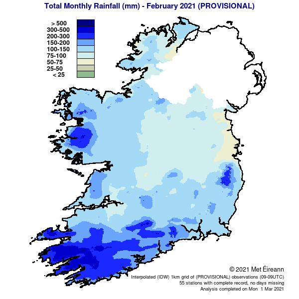 Total Monthly Rainfall in Ireland (mm) - Provisional