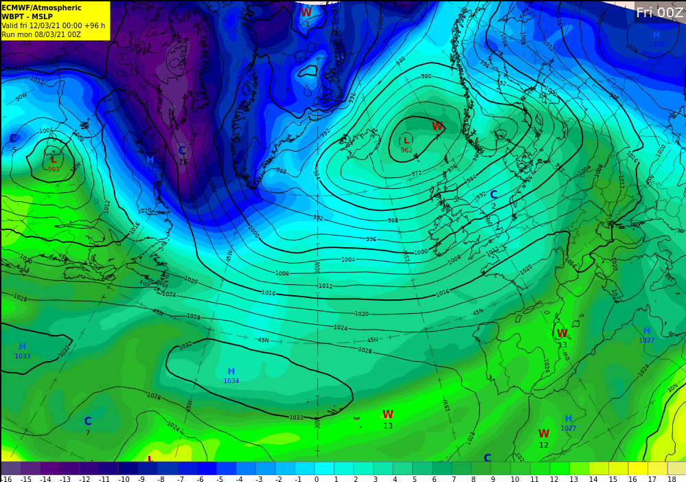 Image: Forecast chart for Friday 12th March showing cooler polar maritime airmass over UK & Ireland
