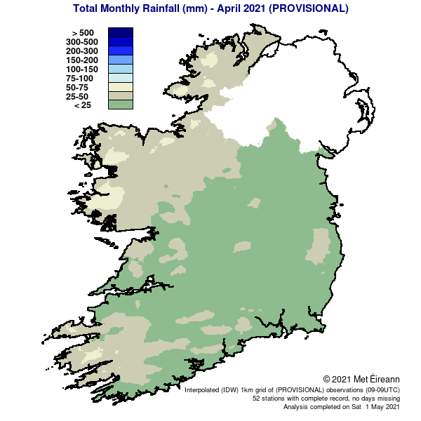 Rainfall % of 1981 – 2021 Monthly Average for April 2021 (Provisional)