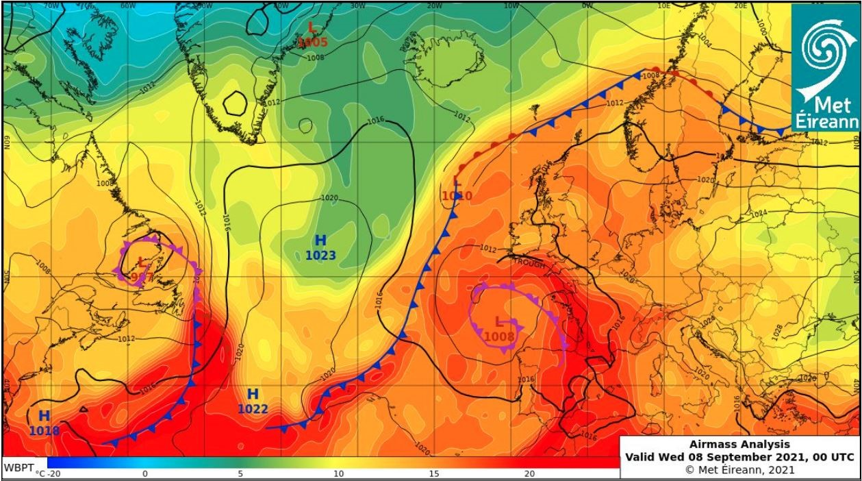 Airmass Analysis chart from 00 UTC Sept 8th 2021