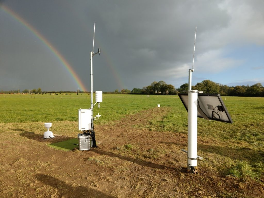 Soil Moisture Monitoring station at Irish Farmers Journal Tullamore Demonstration Farm, Co. Offaly, where ISMON was launched 5 October 2021. On the right the Cosmic Ray Neutron Sensor with solar panel, in the middle the data logger, air and grass thermometer, and relative humidity sensor, and on the left the rain gauge to measure precipitation. In the distance the junction box shows the location of soil moisture probes. Photo by Tamara Hochstrasser 5 October 2021